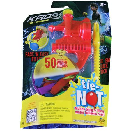 Kaos Tie-Not Water Balloon Filler by Tie-Not - $4.95. A must-have for summertime fun and parties. Fill and tie many, many water balloons quickly and easily. Just attach to any garden hose, use trigger to fill balloons, and simply tie using the twisting mechanism.