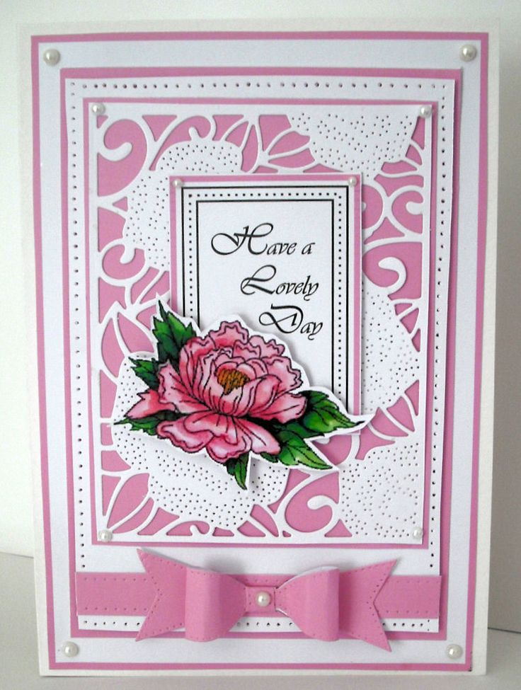 ...by Marjorie Ramsay - Pierced Roses background - Classic 3D Bow - John Lockwood Peony Elements stamp coloured with Copics - computer generated greeting