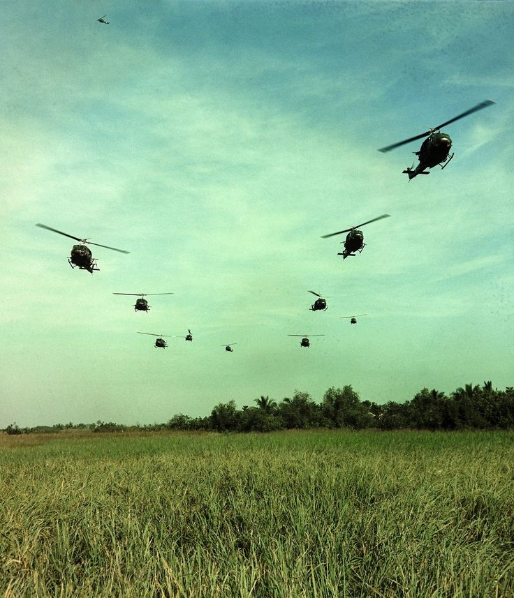 """todaysdocument: """" """"Operation 'Rang Dong.' A column of UH-1D helicopters prepare to disembark members of Co """"C"""", 3rd Bn's, 7th Inf, 199th Light Inf Bde, for a combat assault."""" 11/22/1967 """" File Unit: Vietnam – Aviation-Helicopters-UH-1D [Huey], 1963..."""