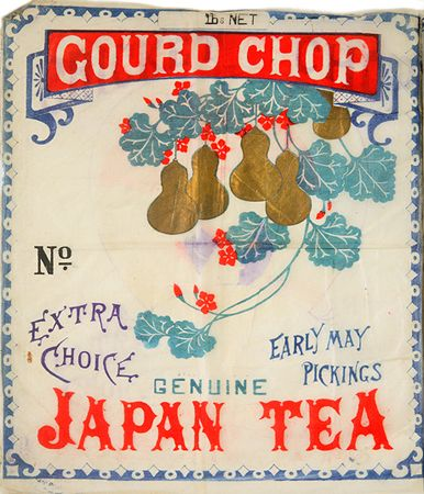 """Gourd Chop Genuine Japan Tea"" vintage Japanese tea label with artwork of gourds and blossoms on leafy vine"