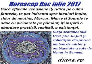 Horoscopul Racului iulie 2017 pune accentul pe o însănătoşire spirituală, sufletească, pe un echilibru stabil între aspiraţii şi realitate, ...