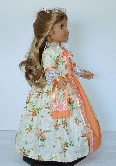 Mellon and cream Tea dress Created for American Girl doll  Felicity or Elizabeth  No. 583