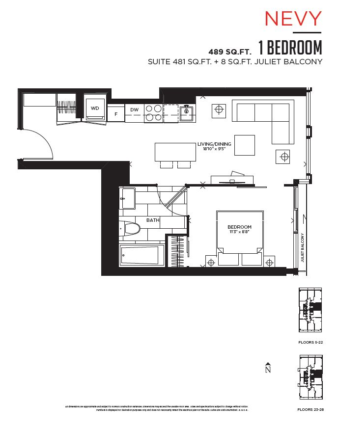 1 Bedroom Toronto Vox Condo Floor Plan Kat Plan