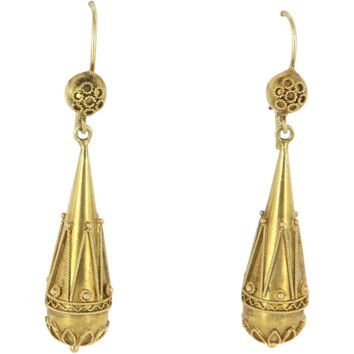 Antique Victorian 14 karat Yellow Gold Orb Drop Earrings Etruscan Vintage Jewelry