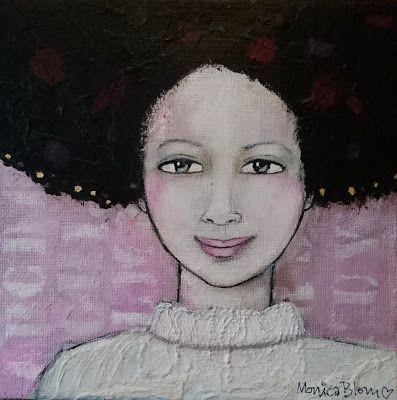 Monica Blom Art: With golden edge.  akryl 25x25