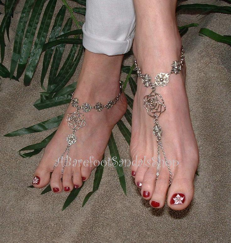 Flower Chain Barefoot Sandals Gypsy Rose Wedding Leg Jewelry Bohemian Hippie Legwear Goth Feet Women Body By