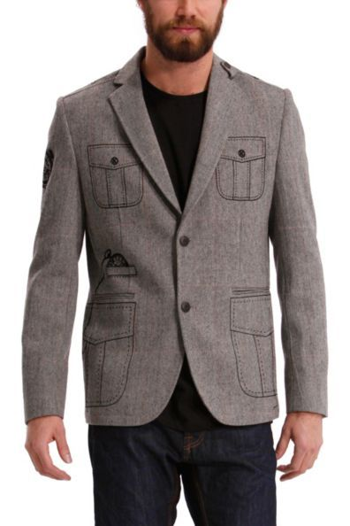 Desigual men's Wool blazer. You can't deny that this is the most original item your wardrobe has even seen, can you? The patterns on the pockets are brilliant.