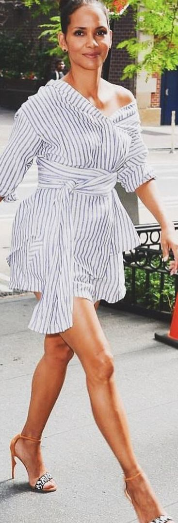 Who made Halle Berry's white print dress and ankle strap sandals?