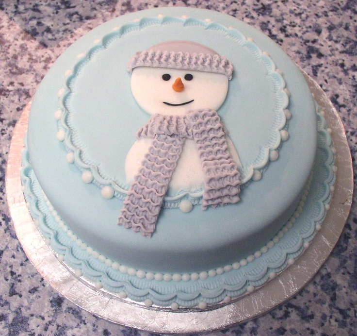 Flat Snowman Cake by *ginas-cakes on deviantART