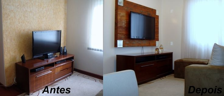 Consultoria com obra mais leve para retirar textura da parede e criar painel para televisão na Sala de Estar.
