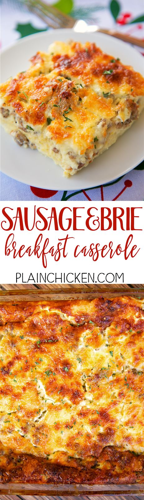 Sausage and Brie Breakfast Casserole - SO amazing! Make this the night before and bake in the morning. Sausage, brie, parmesan, white bread, eggs, whipping cream, milk, dry mustard, salt. This is our favorite breakfast casserole. A MUST for Christmas morning!