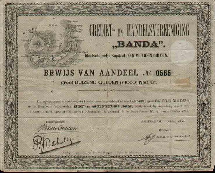 Bewijs van aandeel Crediet- en Handelsvereeniging Banda, 1886