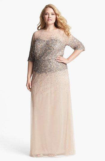 Adrianna Papell Beaded Illusion Gown (Plus) | Nordstrom