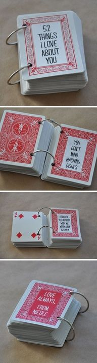 """DIY: You can make for someone you care about """"52 Things I Love About You"""" write each one on each card and hold together with the rings to make a book."""
