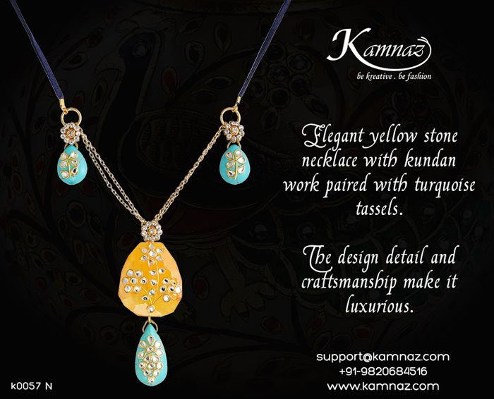 #KamnazJewellery Elegant yellow stone #necklace with #kundanwork paired with #turquoise tassels. The design detail and craftsmanship make it luxurious.  For price info contact support@kamnaz.com | +91-9820684516 #traditionaljewellery #handmadejewellery #chicjewellery #designerjewellery #stonenecklace #fashionjewellery #jewelry #mumbai