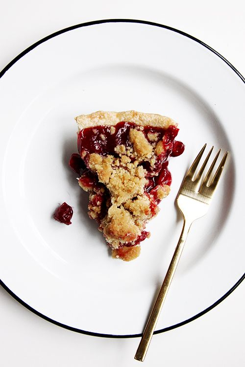 An almond tart cherry pie with a crumble and soft crust. The composition comes from the Grand Traverse Pie Company in Traverse City, MI. Red ribbon worthy!