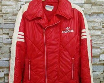 ADIDAS Vintage rojo bordado blanco con cremallera deporte esquí Cazadora bombardero chaqueta Adidas Run Dmc Hip Hop estilo L