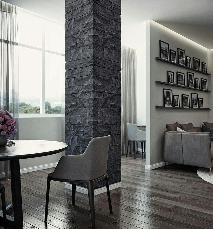 Мы спланировали очень просторную гостиную, в которой зонировали столовую, рабочее место и зону отдыха, включили в площадь этой комнаты балкон.