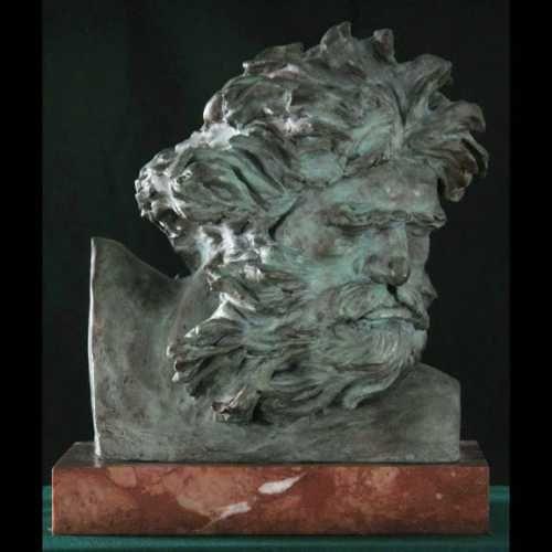 Sculpture: 'Berninis Neptune (Small Bust Roman God bronze sculptures/statuettes)' by sculptor William Mather in Sculpture of Men - Garden Sculpture for sale - ArtParkS Sculpture Park - Bringing Sculpture into the Open