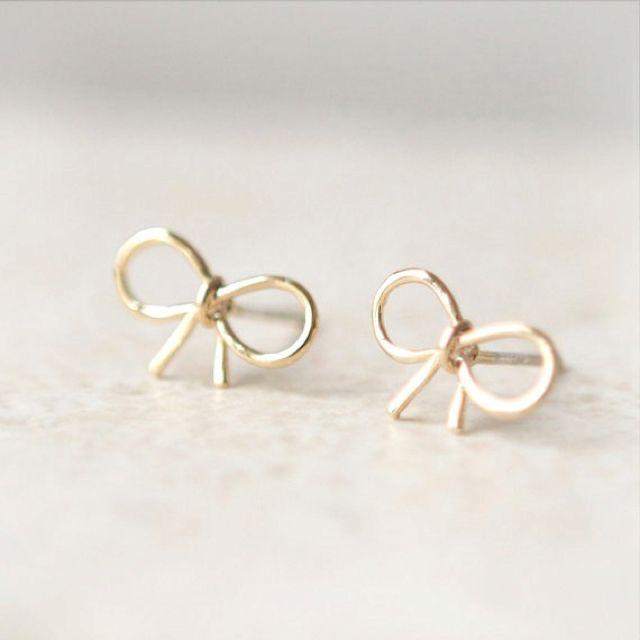 Tiny bow earrings on Etsy