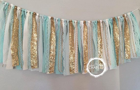 Tiffany Blue, Aqua & Gold Sequin - Fabric Garland Banner - Sparkle Glitz  Window Valance , Wedding, Backdrop, Nursery Decor, fabric tassel