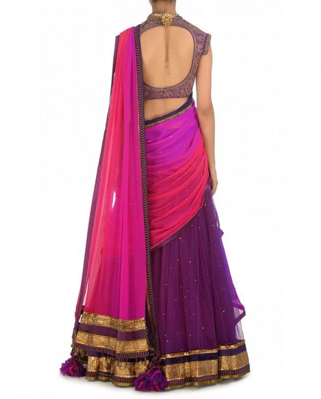 Purple and pink party wear chaniya choli – Panache Haute Couture