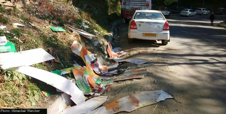 Comendable Committment towards #SwacchBharat !  All political parties are displaying a responsible behavior by appropirately disposing of the waste campaigning material after the polling day. The picture shows Khalini area of #Shimla (Urban). The cutouts of PMO India are complimenting the committment of BJP Himachal Pradesh towards his flagship #SwacchaBharat campaign. Congress and CPI(M) have also shown considerable support by not removing their publicity material from public properties…