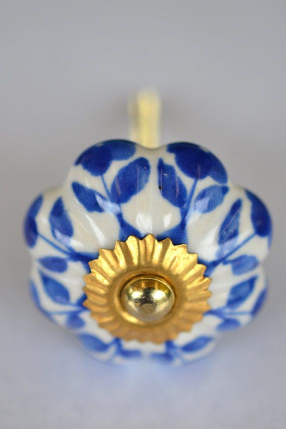 Blue and white flower ceramic and brass handle door cabinet pumpkin shaped knob on Etsy, $6.45