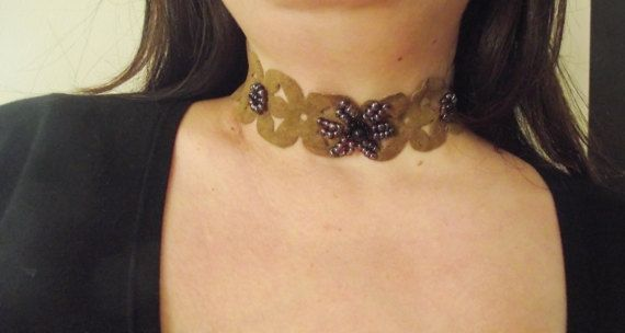 Wide Suede Choker with Sead beads by MaryLooGifts on Etsy
