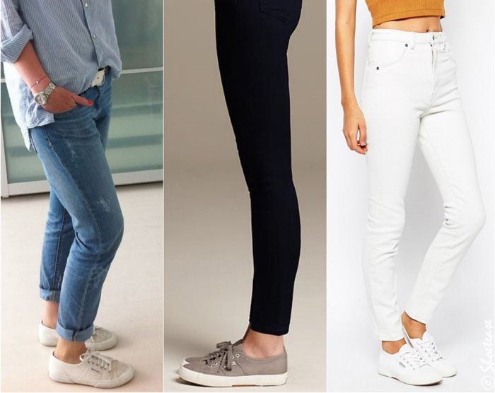 """Great guide on what shoes to wear with skinny jeans. Personally, I love the """"Cotu"""" sneakers! #luvcomfyshoes"""
