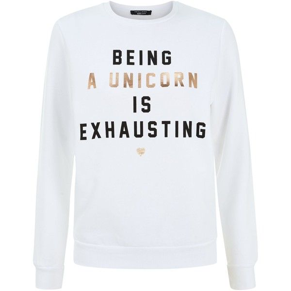 New Look Teens White Being a Unicorn is Exhausting Print Sweatshirt (159.295 IDR) ❤ liked on Polyvore featuring tops, hoodies, sweatshirts, shirts, sweaters, white, white shirt, patterned sweatshirt, pattern shirt and white long sleeve shirt