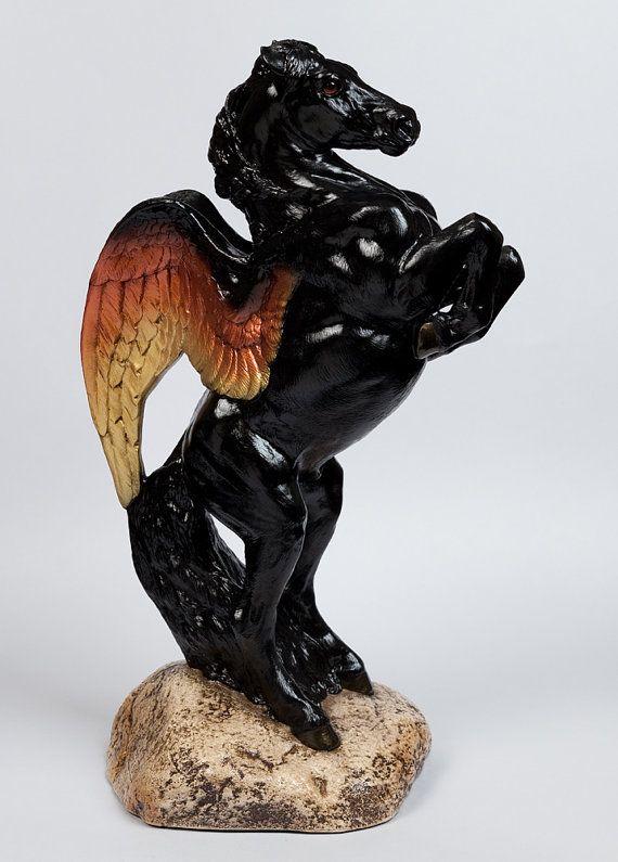 Black Pegasus Stallion Statue - Male Winged Horse Figurine - Windstone Editions -- 821-OP $150.00
