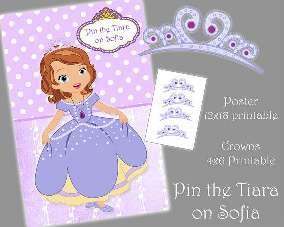 Junior princess party game printable pin the tiara on for Sofia the first crown template