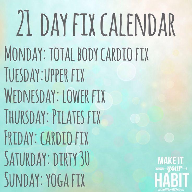 21 Day Fix Workout Calendar   BEACH BODY   Pinterest