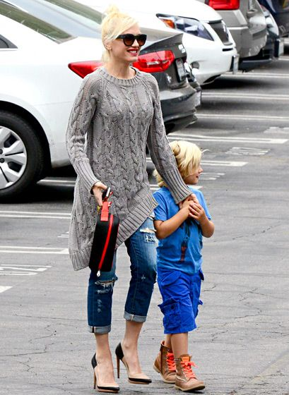 Taking son Zuma to school in L.A., Gwen Stefani kept any hint of a baby bump hidden under an asymmetrical gray cable-knit sweater, which she paired with distressed jeans and nude-and-black L.A.M.B. pumps.