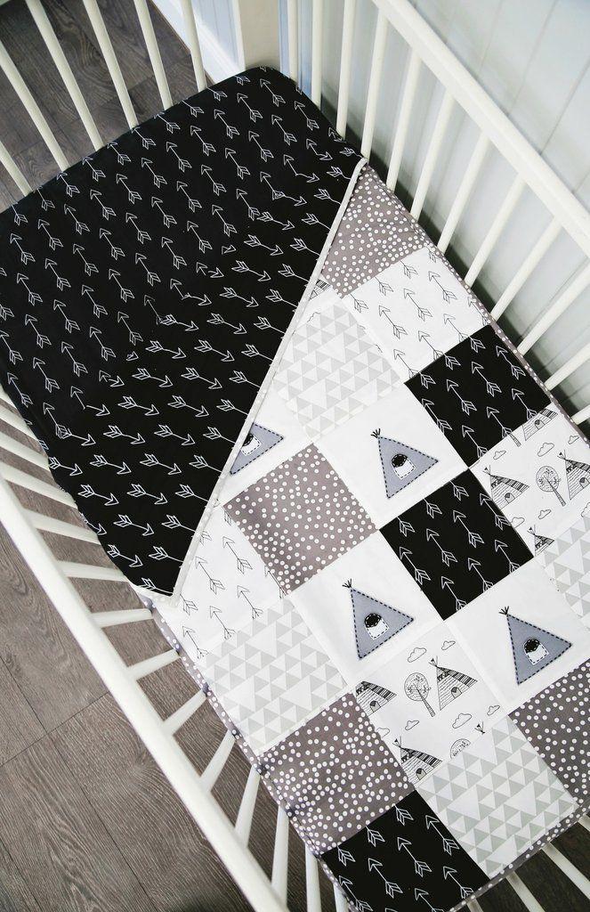Teepee XL Patchwork Cot Quilt -Black and White www.alphabetmonkey.com.au #blackandwhitenursery #monochromenursery #arrowdecor #arrownursery #teepeenursery #teepeequilt #patchworkquilt #patchworkbabyquilt
