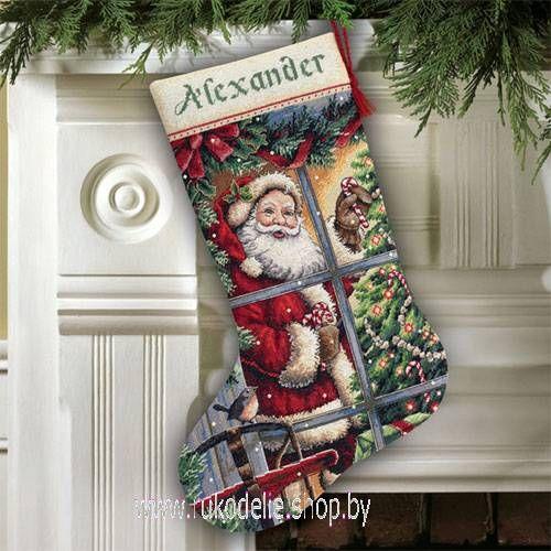 Санта с леденцами, новогодний сапожок. Вышивка / Embroidery. Рождество, Новый год. Kits for embroidery. Набор для вышивки крестом Dimensions. Поделки своими руками, подарок.