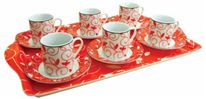 13 Piece Expresso Coffee Set with Matching Tray for Valentines Day Gifts