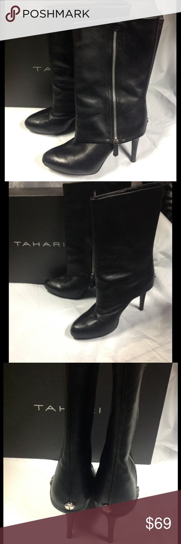 """TAHARI Foster style black leather boots heels 8.5 Very good condition. Do not show much wear at all. TAHARI Foster style black lambs leather fold over boots with silver zippers. Heel height is approx. 4"""". Boot height approx. 13"""" including heel. Boot shaft approx. 14"""" in diameter. Shipped in original box. Size 8.5 Tahari Shoes Heeled Boots"""