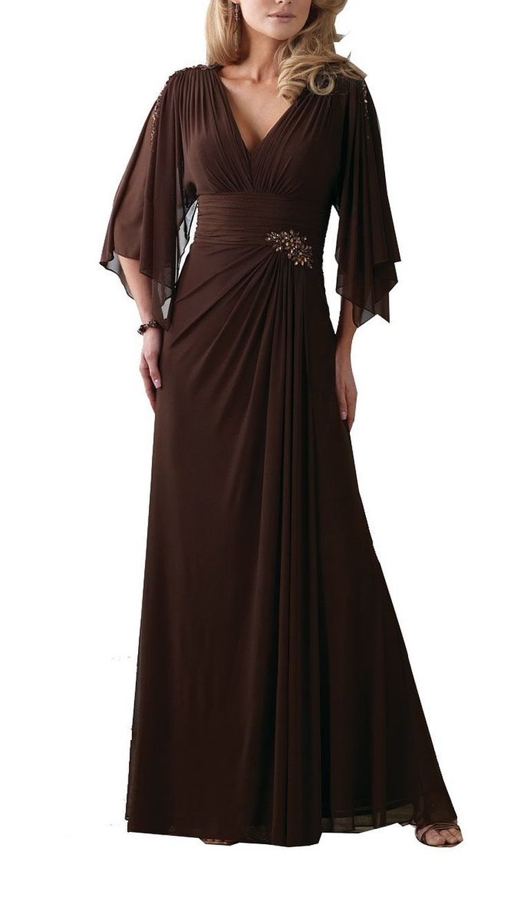 Chocolate Brown V Neck A Line Beaded Chiffon Mother Of The Bride Dress With…