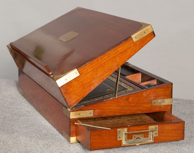 A Very Good 19th C Mahogany Campaign Writing Slope With