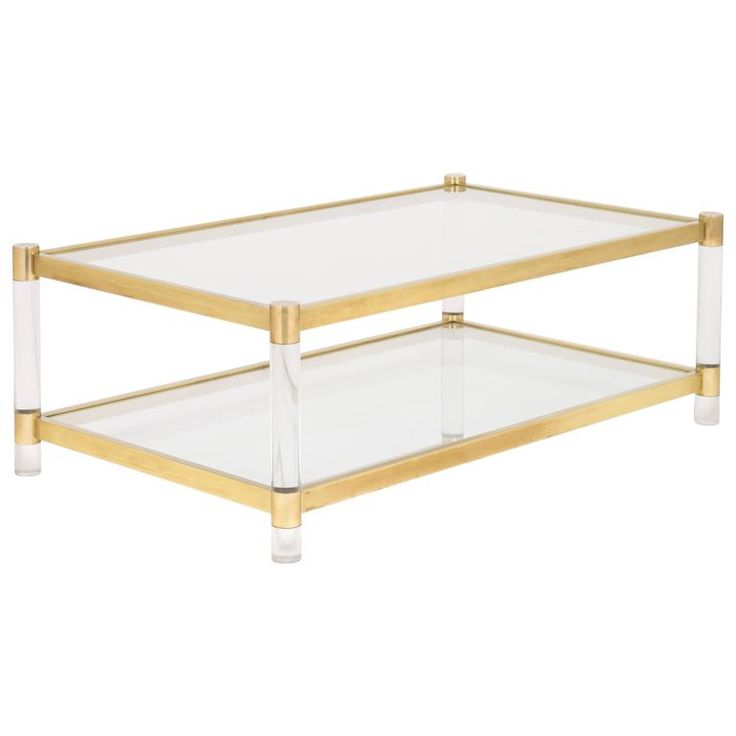Vintage Brass, Lucite Coffee Table