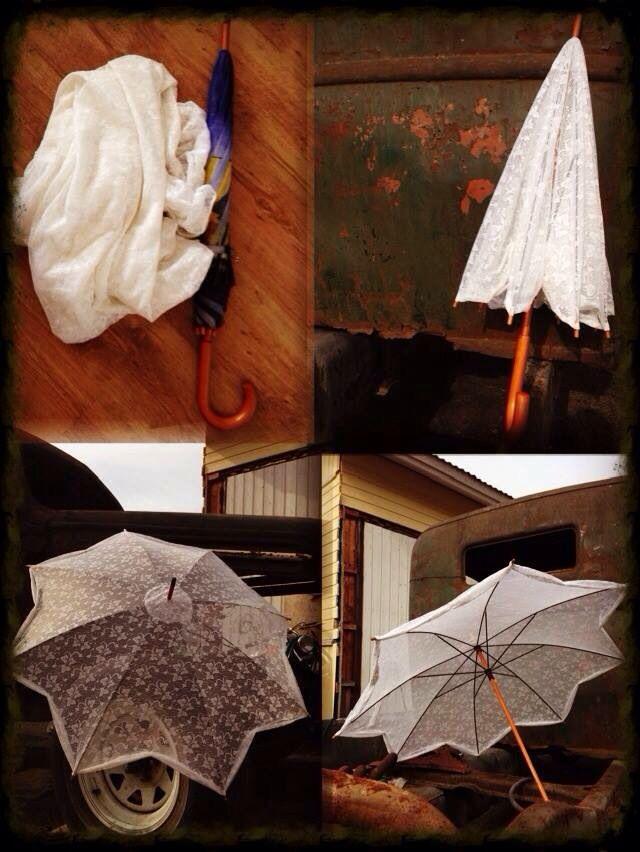 Kierrätys! Pitsiverho ja vanha sateenvarjo, syntyi kaunis päivänvarjo.