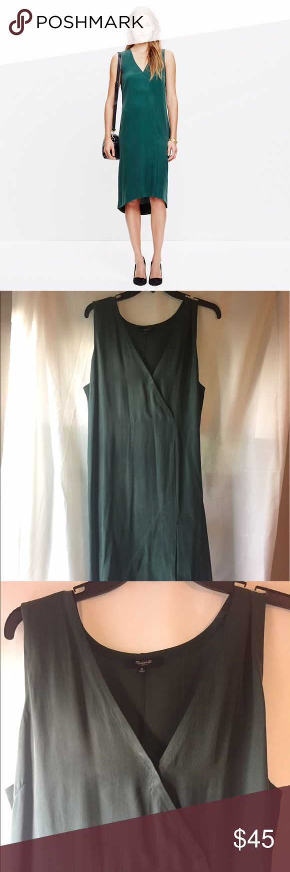 Forest green silk wrap style dress - Madewell 12 Gorgeous forest green silk dress from Madewell. Size 12. This is a smooth silk front, with a textured light crepe silk back panel. Hits at the knee and is a bit lower in the back (very slight high-low style). The front crosses at the bust and has a little snap to keep it a bit more modest. The front skirt has a faux wrap effect too. The color is a gorgeous forest green - not as blue-green as in the stock photo, much more mild green (see 2nd…