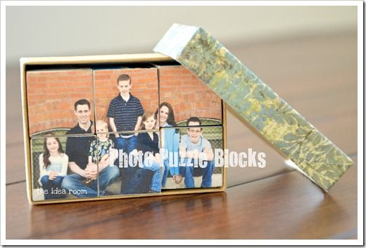 Photo Puzzle Blocks. Very easy and inexpensive. Cant wait to start making one for my home.
