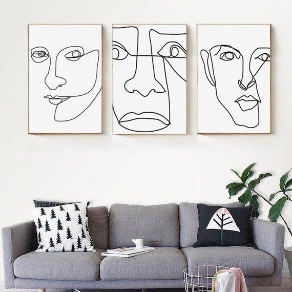 Face Abstract Art Set 3 Prints Modern Poster Downloadable Prints Single Line Art Large Wall Art Creative Art Line Drawing Face Print 24×36 – Lilh0e