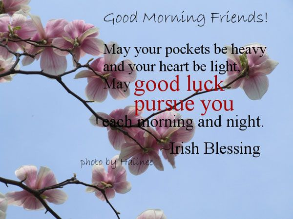 May your pockets be heavy and your heart be light, May good luck pursue you each morning and night.