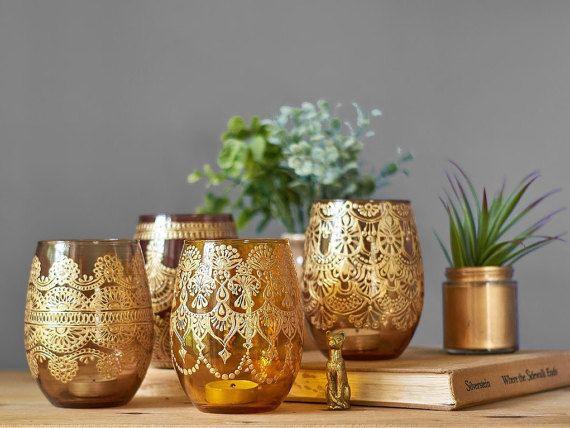 Henna Art Vase Minimalist Decor Amber Glass Bud Vase or