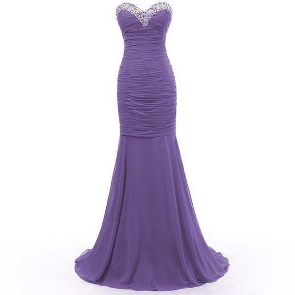 Dresstells Mermaid Beading Long Chiffon Evening Gown Formal Party... ($99) ❤ liked on Polyvore featuring dresses, gowns, vestidos, long dress, formal gowns, long evening gowns, chiffon gown, long formal dresses and beaded gown
