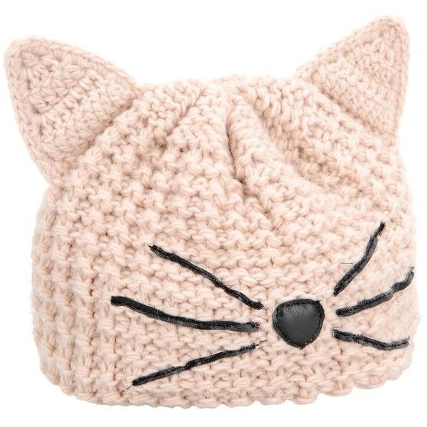 Karl Lagerfeld Choupette Beanie found on Polyvore featuring accessories, hats, beanies, sea shell, embroidery hats, beanie hat, logo beanie hats, cat ear hat and embroidered hats
